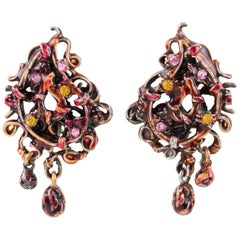 Christian Lacroix Paris Signed Red Enamel & Silvered Metal Dangle Clip Earrings