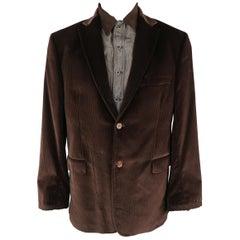 ROBERT GRAHAM 44 Brown Stripe Velvet Notch Lapel Jacket