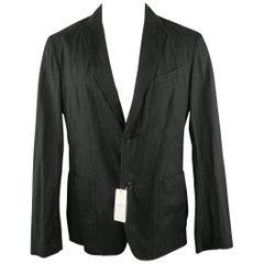 ARMANI COLLEZIONI 34 Regular Black & Grey Checkered Cotton Sport Coat