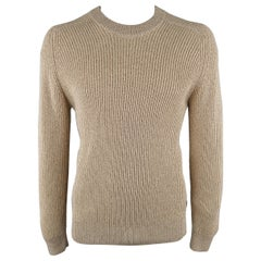 GUCCI Size M Oatmeal Ribbed Knit Cotton Crew-Neck Sweater