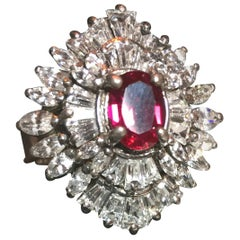 Artist-Signed Sterling, Cubic Zirconia & Synthetic Ruby Cocktail Ring 1970s