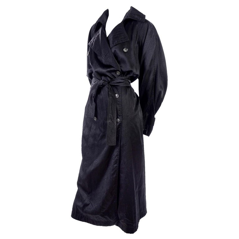 Vintage Alaia Paris Regenmantel der 1990er Jahre schwarzer Trenchcoat 1