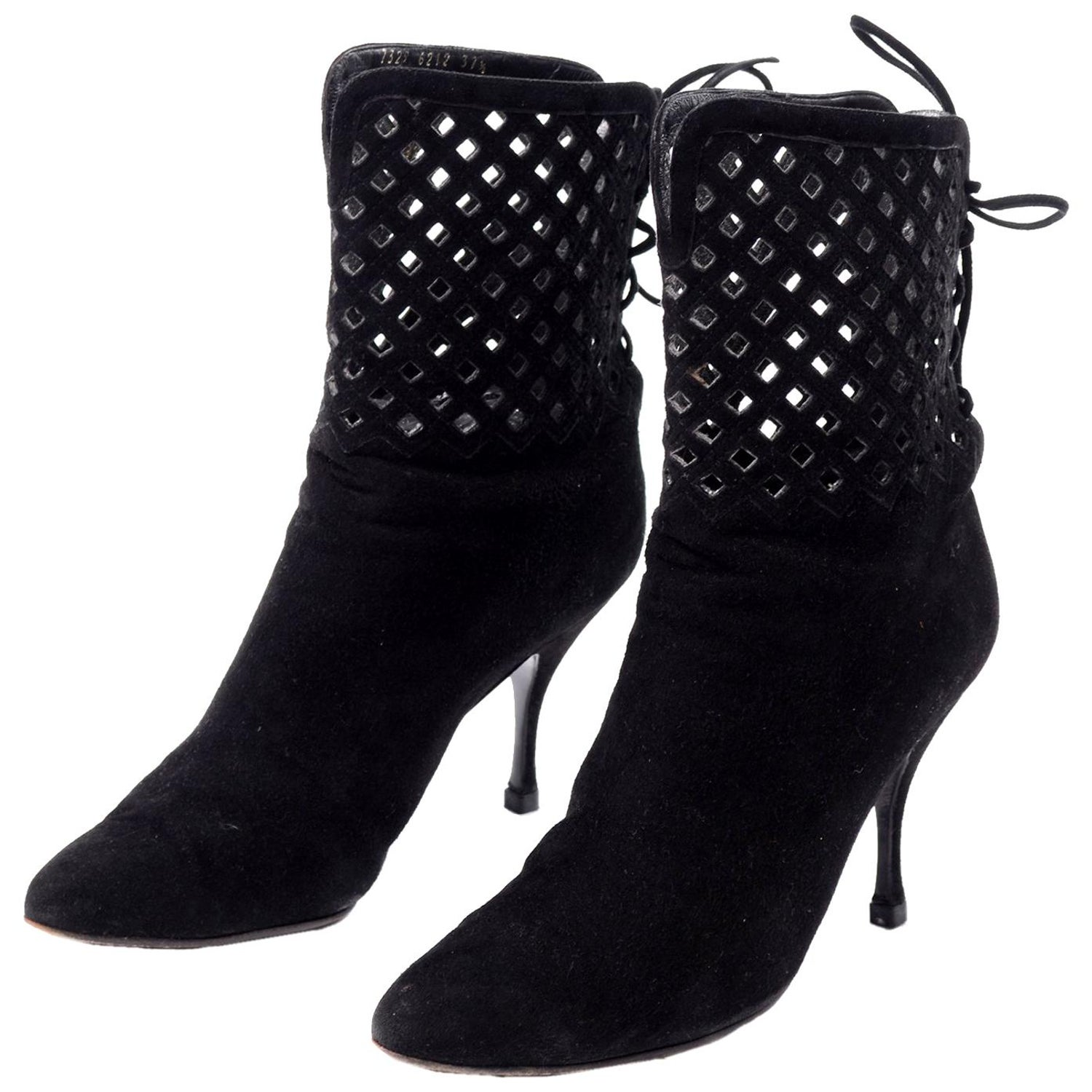 99bf4c114b5 Vintage Alaia Black Suede Boots in Cutout Corset Style Lace Up Booties Size  37.5