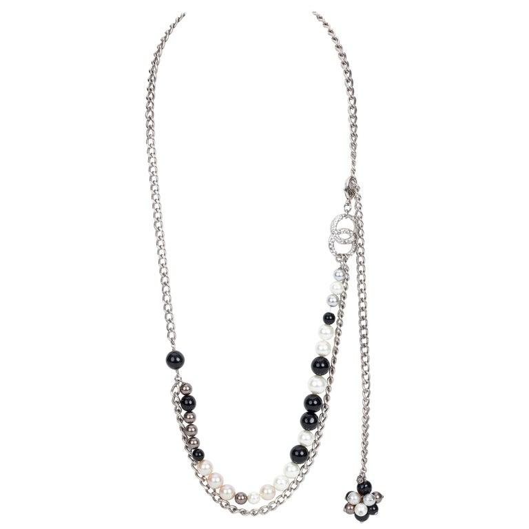 Chanel Black & White Pearl Necklace Belt 1