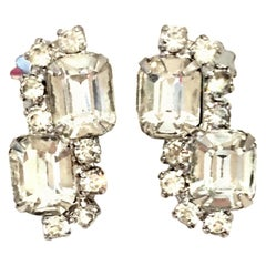 "20th Century Weiss Style Silver & Swarovski Crystal ""Diamond"" Earrings"