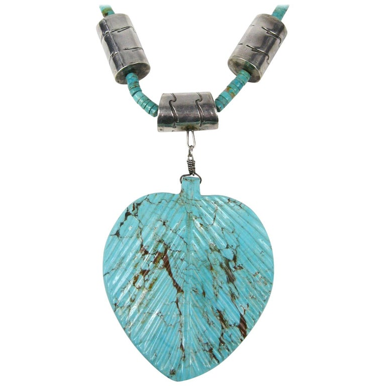 Native American Dead Pawn Zuni Turquoise Leaf Rondelle Sterling Silver Necklace 1