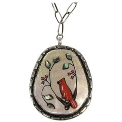 Native American Sterling Silver Zuni Shell Coral Cardinal Pendant with Necklace