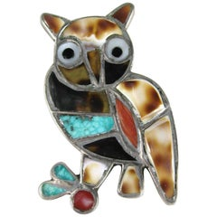 Zuni Inlaid Turquoise Shell Mother of Pearl Sterling Silver Owl Pin Brooch