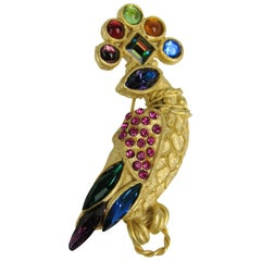 Crystal Peacock Gold gilt Brooch New, Never worn 1990s