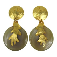 Dominique Aurientis Gold Gilt Earrings New, Never Worn 1980s