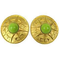 Karl Lagerfeld Gold Gilt clip on earrings New,  Never worn 1990s