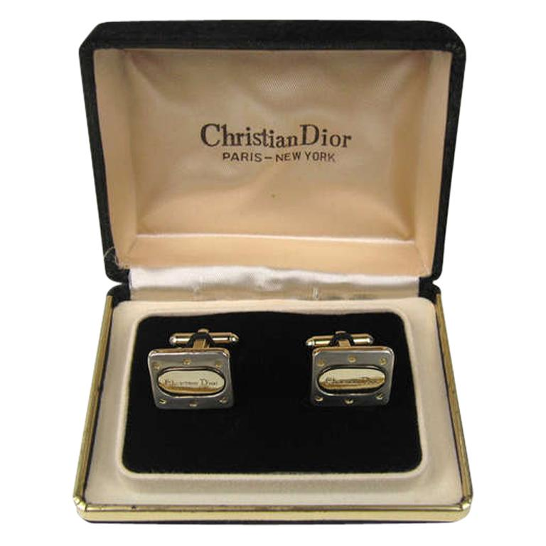 Christian Dior Men's Cuff links in original Box  For Sale