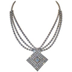 60'S Silver & Swarovski Crystal Triple Row Pendant Choker Necklace