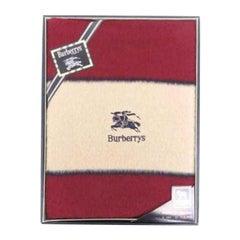 Burberry Red Logo Wool Throw Blanket 233969