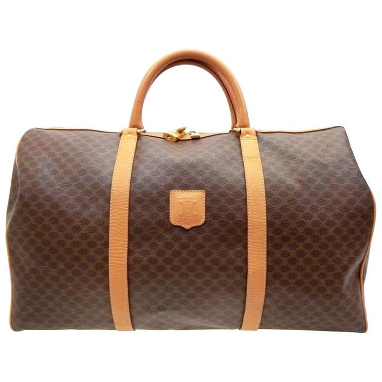 9e6c56491f82 Céline Boston Macadam Monogram 233285 Brown Coated Canvas Weekend Travel Bag  For Sale