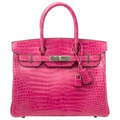 Limited Hermès Birkin 30 Croco Porosus Lisse Fuchsia PHW