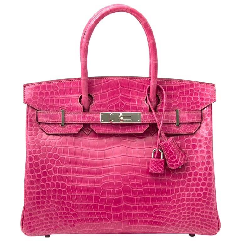 Limited Hermès Birkin 30 Croco Porosus Lisse Fuchsia PHW For Sale
