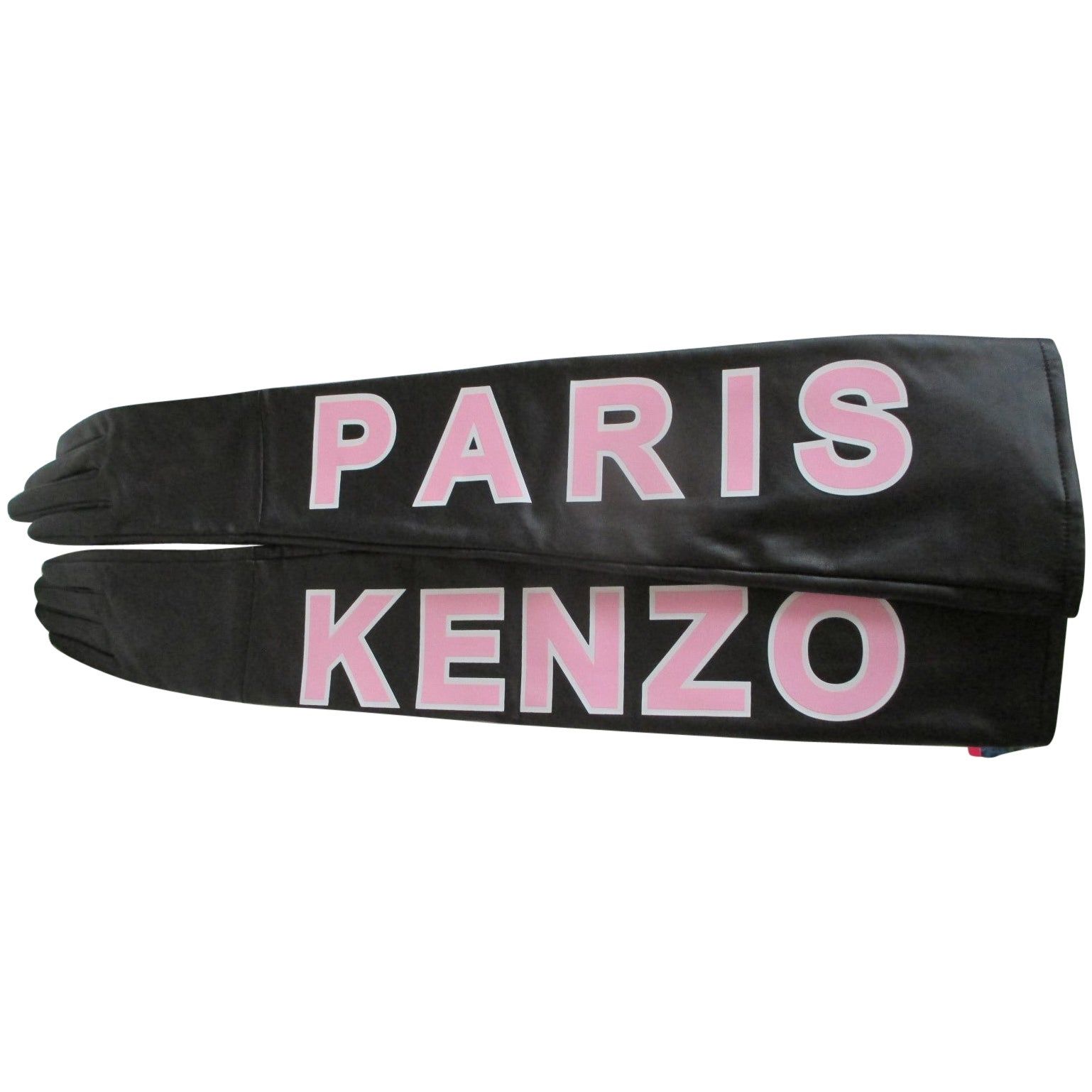 KENZO PARIS Black/Pink Leather Long Gloves size M