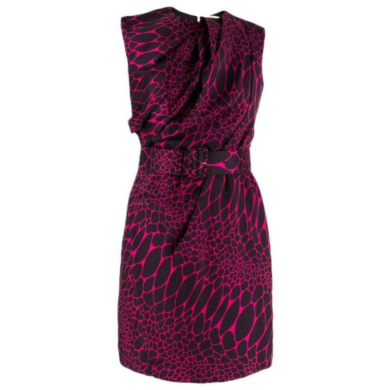 Philip Armstrong Abstract-Jacquard Belted Dress SIZE UK 8/ US 4 For Sale