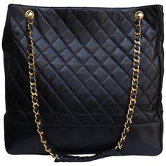 Chanel large black quilted leather bag, 1990's