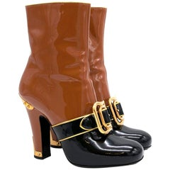 Prada Buckled Two-Tone Patent Leather Buckle Boots US 5.5