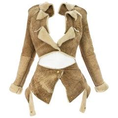Vivienne Westwood cream shearling sheepskin deconstructed jacket, ca. 1999