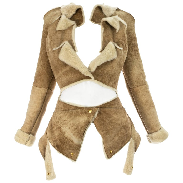 Vivienne Westwood cream shearling sheepskin deconstructed jacket, ca. 1999 For Sale