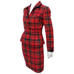 Thierry Mugler Red Plaid Suit With Black Velvet Trim