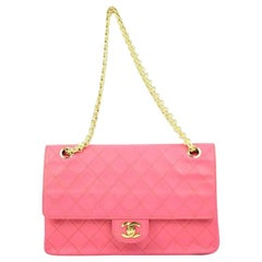 Chanel Fuschia Quilted Classic Flapcctl51 Pink Leather Shoulder Bag