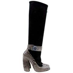 Prada Black Suede and Python Trim Boots US 6