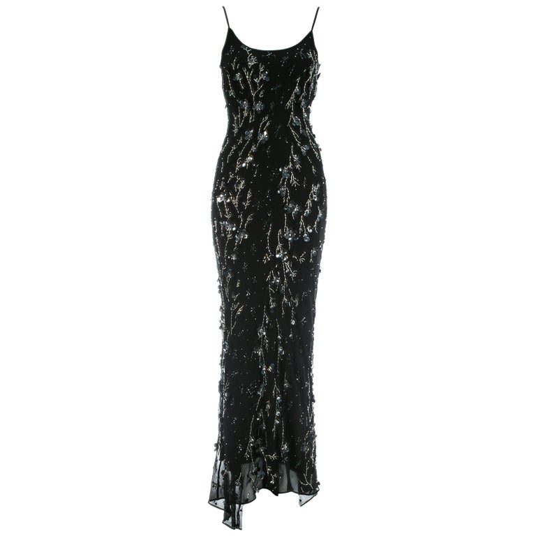Dolce & Gabbana black silk chiffon embellished evening dress, S/S 1999 For Sale