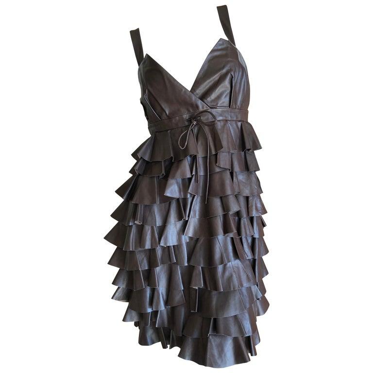 Christian Dior by John Galliano Fall 2010 Lamb Skin Leather Ruffled Mini Dress For Sale