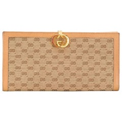 Gucci Camel Canvas Logo Wallet