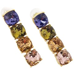 Stunning Kenneth Jay Lane KJL Couture Collection Faux Gemstone Drop Earrings
