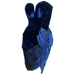 Vicky Tiel Couture Bergdorf Goodman 80's Strapless Blue Velvet Cocktail Dress