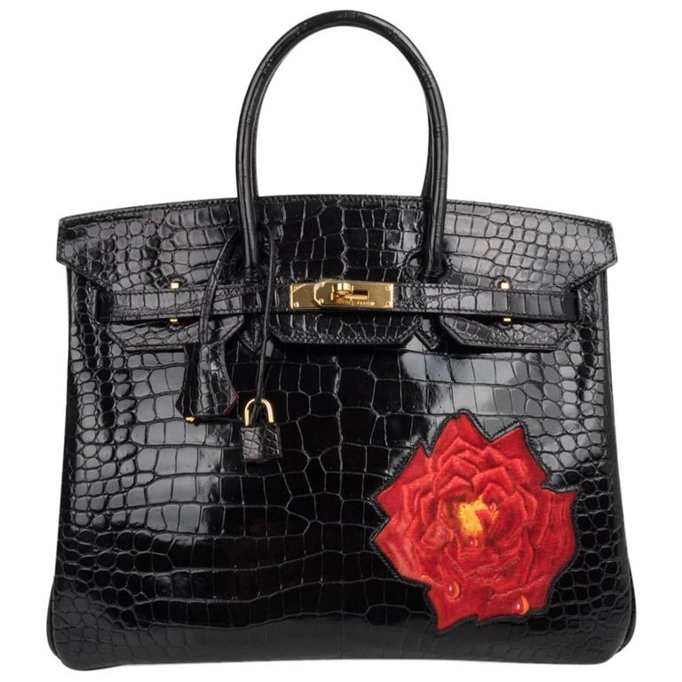 e745549c1f Hermes Birkin 35 HSS Porosus Crocodile Black Red Dewdrop Rose One of a Kind  For Sale