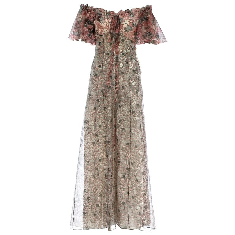 Ossie Clark silk off the shoulder dress with Celia Birtwell print c. 1970 For Sale