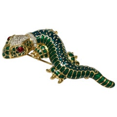 Kenneth Jay Lane KJL Lizard Salamander Enamel Crystal Statement Pin Brooch