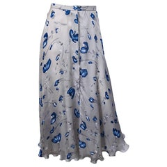 Vintage Giorgio Armani Light Grey + Blue Watercolor Flowers Silk Maxi Skirt
