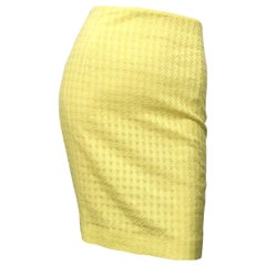 Vintage Gianni Versace 1990s Canary Yellow Sz 42 / 6 Cotton Mini Pencil Skirt
