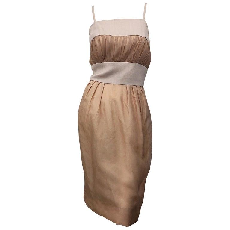 1950s Anita Modes Demi Couture Nude Blush Silk Vintage 50s Chiffon Dress For Sale