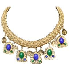 Gold Woven 'Cleopatra' Collar Necklace-Malachite and Lapis Drops