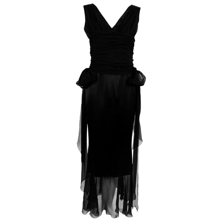 Chanel Black Silk Satin and Chiffon Evening Gown 2006A For Sale