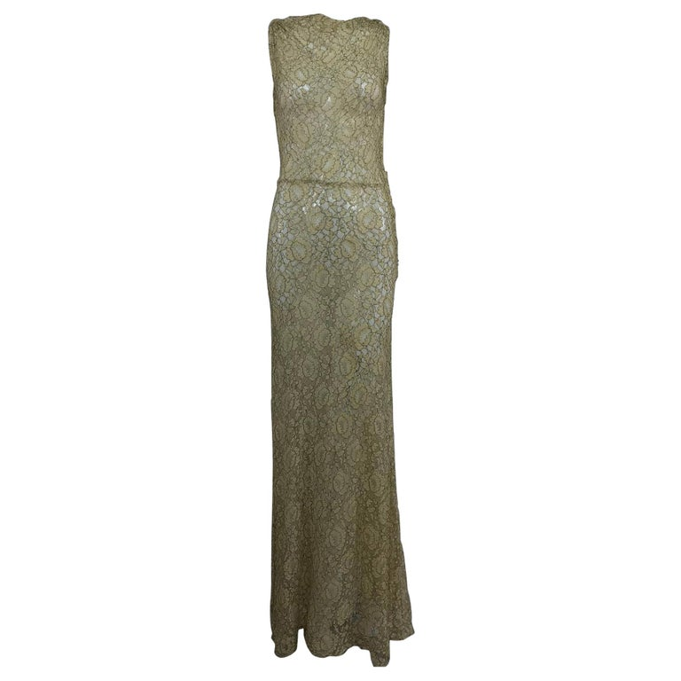 1930s Mixed Gold Metallic and Cream Lace Evening Dress For Sale