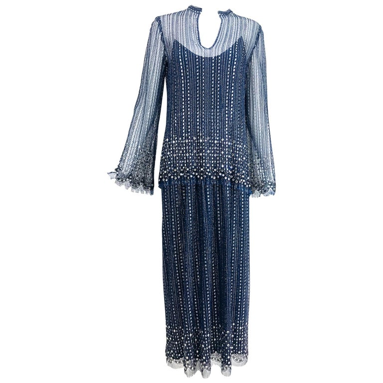 Vintage Mollie Parnis Silver and Inky Blue Rhinestone Dress 1970s For Sale