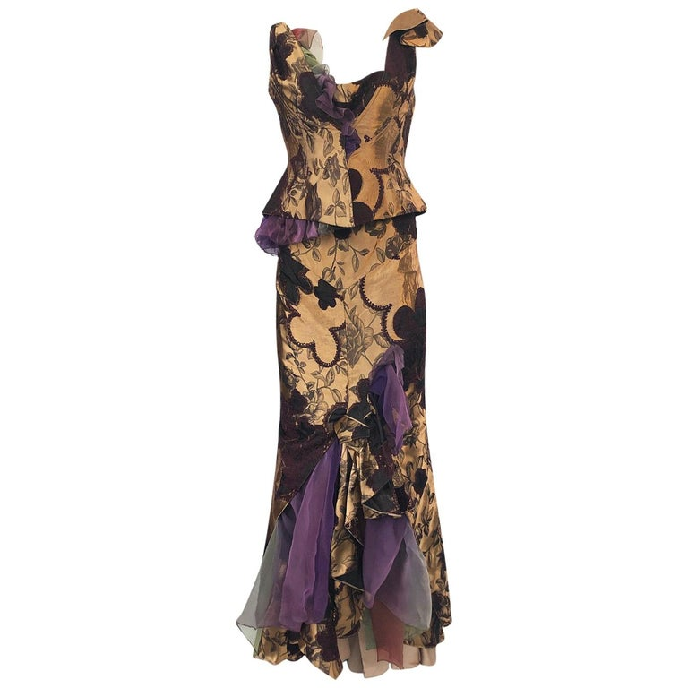 Fall 1992 Christian Lacroix Elaborate Gold & Silk Corset Top & Skirt For Sale