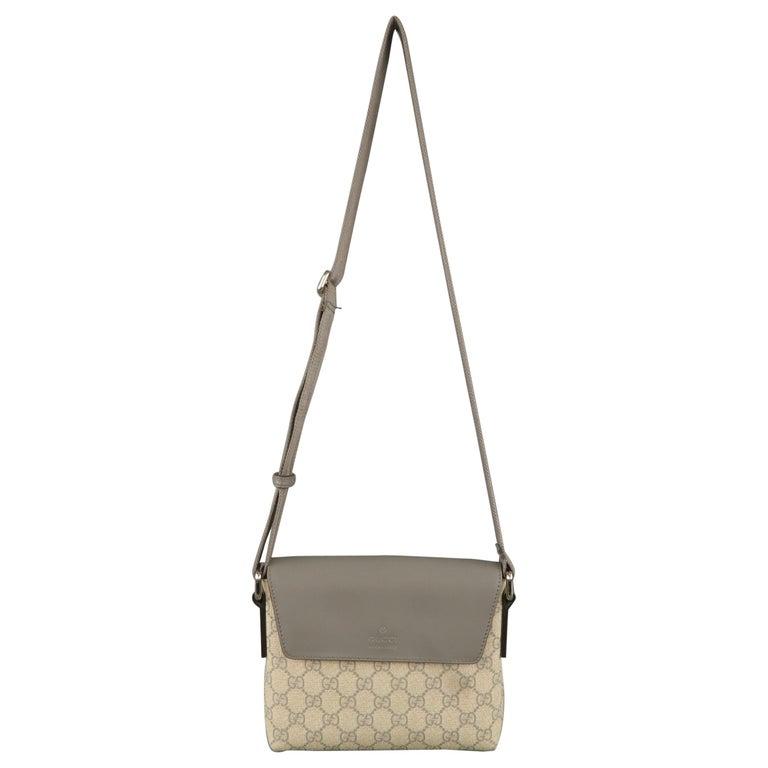 6dc9a67c9ae190 GUCCI Beige Guccissima Monogram Canvas & Gray Leather Mini Crossbody Bag  For Sale