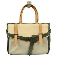 REED KRAKOFF Green & Beaige Color Block Leather Handbag
