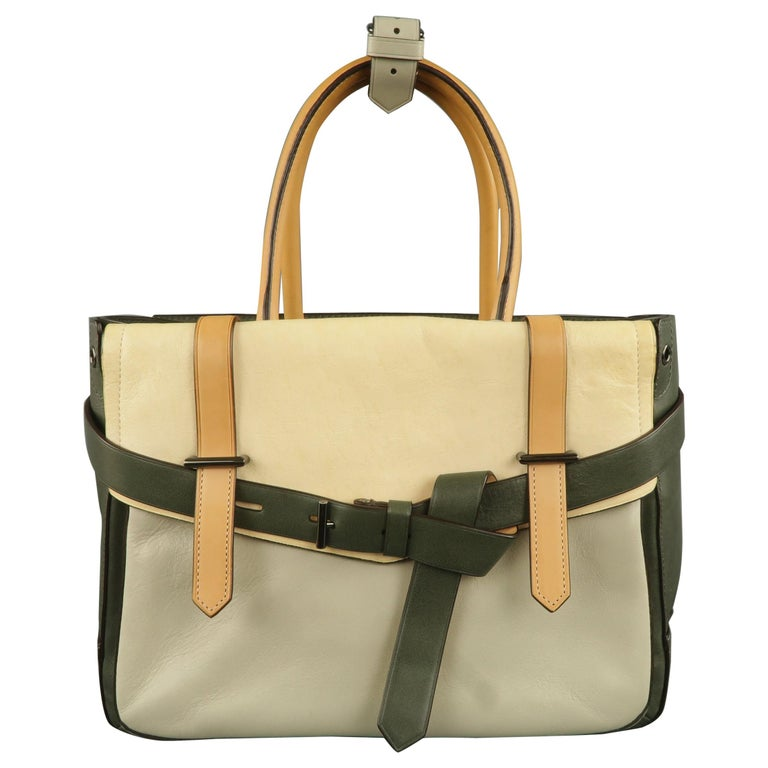 cd505522d9 REED KRAKOFF Green and Beaige Color Block Leather Handbag For Sale ...