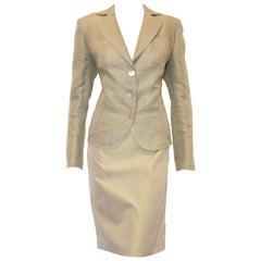 Akris Green Linen & Silk Skirt Suit